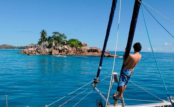 Seychelles Islands aboard on catamaran